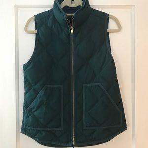 EUC JCrew Green Double Zipper Quilted Vest